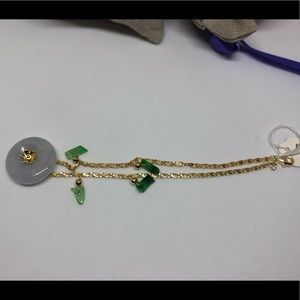 light lavender flower jade 14K bracelet